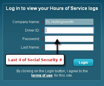 Service logs login